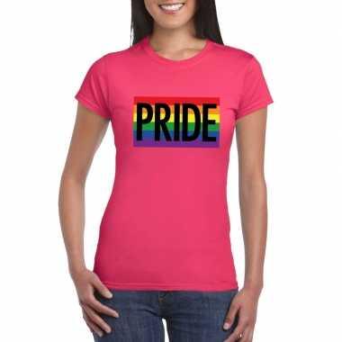 Carnavalskleding regenboog vlag pride shirt roze dames arnhem