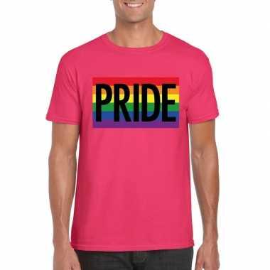 Carnavalskleding regenboog vlag pride shirt roze heren arnhem