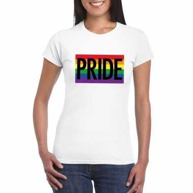 Carnavalskleding regenboog vlag pride shirt wit dames arnhem