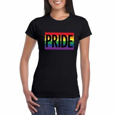 Carnavalskleding regenboog vlag pride shirt zwart dames arnhem