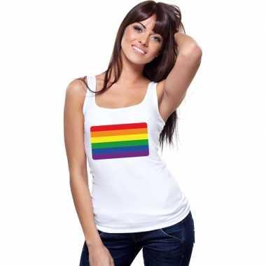 Carnavalskleding regenboog vlag singlet shirt/ tanktop wit dames arnh