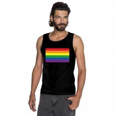 Carnavalskleding regenboog vlag singlet shirt/ tanktop zwart heren ar