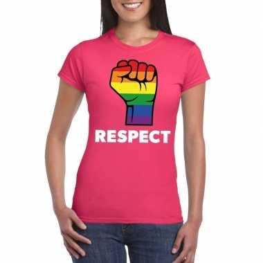 Carnavalskleding respect lgbt shirt regenboog vuist roze dames arnhem