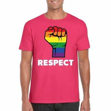 Carnavalskleding respect lgbt shirt regenboog vuist roze heren arnhem