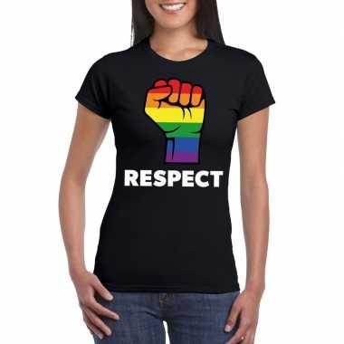 Carnavalskleding respect lgbt shirt regenboog vuist zwart dames arnhe