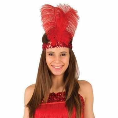 Carnavalskleding rode charleston hoofdband veren dames arnhem