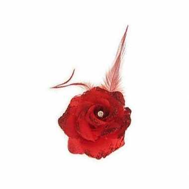 Carnavalskleding rode deco bloem speld/elastiek arnhem