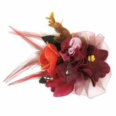 Carnavalskleding rode haarbloemen klem arnhem