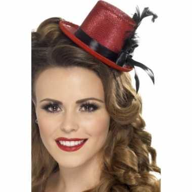 Carnavalskleding rode mini hoge hoed veer arnhem