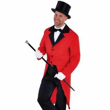 Carnavalskleding rode slipjas zwarte hoge hoed maat xl arnhem