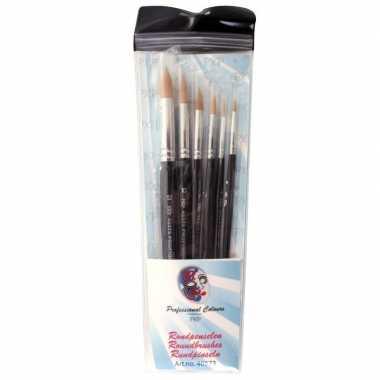 Carnavalskleding ronde schmink penselen set synthetisch arnhem