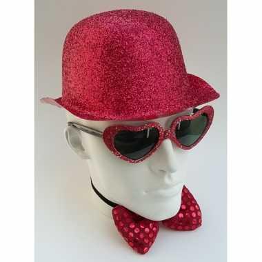 Carnavalskleding rood bolhoedje glitters arnhem