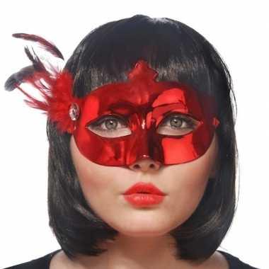 Carnavalskleding rood oogmasker veren dames arnhem