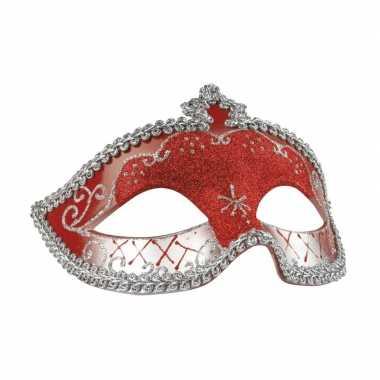 Carnavalskleding rood/zilver oogmasker glitters dames arnhem