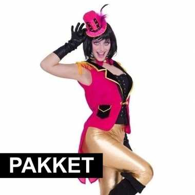 Carnavalskleding roze accessoires slipjas inclusief roze hoedje arnhe