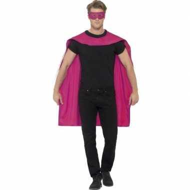 Carnavalskleding roze cape oogmasker volwassenen arnhem