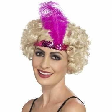 Carnavalskleding roze charleston hoofdband dames arnhem