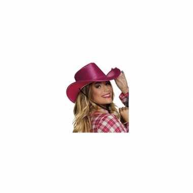 Carnavalskleding roze cowboyhoed howdy pailletten volwassenen arnhem