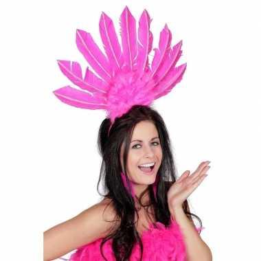 Carnavalskleding roze haarband veren dames arnhem