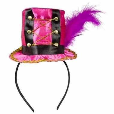 Carnavalskleding roze hoedje diadeem dames arnhem