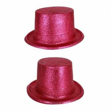 Carnavalskleding roze hoge hoed glitters volwassenen arnhem
