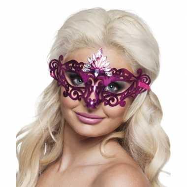 Carnavalskleding roze oogmasker diamanten dames arnhem