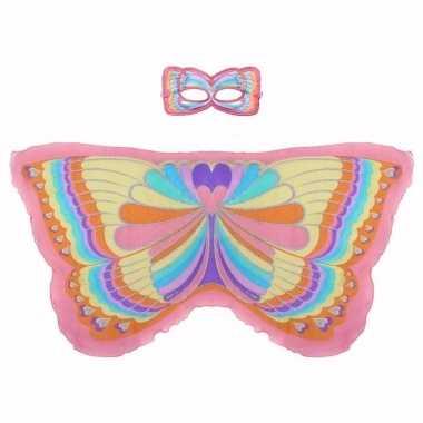 Carnavalskleding roze regenboogvlinder verkleedset meisjes arnhem