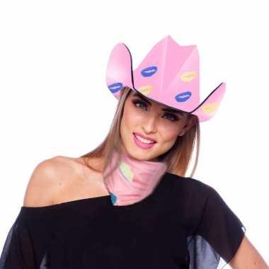 Carnavalskleding roze sjaaltje/bandana lippen/kusjes dames arnhem
