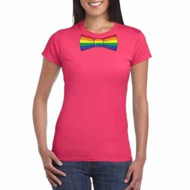 Carnavalskleding roze t shirt regenboog vlag strikje dames arnhem