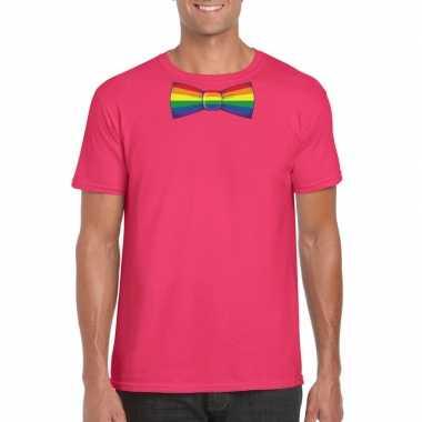 Carnavalskleding roze t shirt regenboog vlag strikje heren arnhem