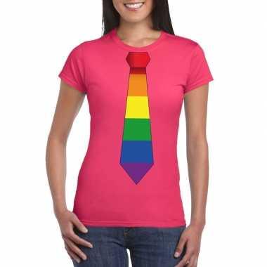 Carnavalskleding roze t shirt regenboog vlag stropdas dames arnhem