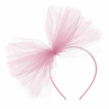 Carnavalskleding roze verkleed diadeem tule strik dames arnhem