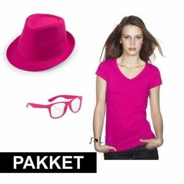 Carnavalskleding roze verkleed set dames arnhem