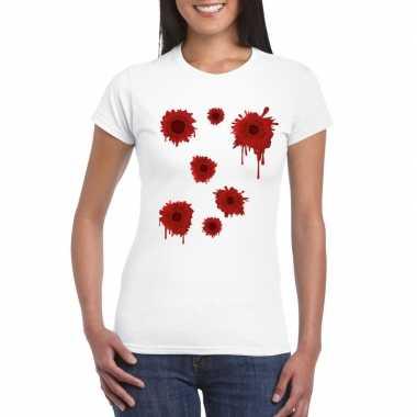 Carnavalskleding schotwonden t shirt wit dames arnhem
