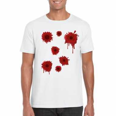Carnavalskleding schotwonden t shirt wit heren arnhem
