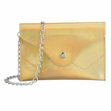 Carnavalskleding schoudertasje/handtasje metallic goud arnhem