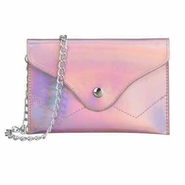 Carnavalskleding schoudertasje/handtasje metallic roze arnhem