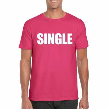 Carnavalskleding single vrijgezel tekst t-shirt roze heren arnhem
