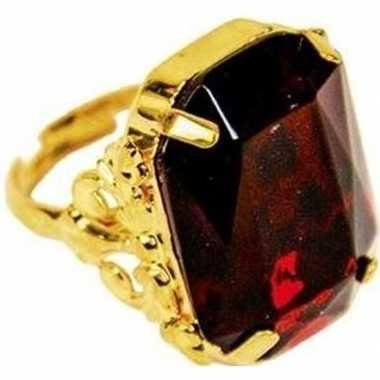 Carnavalskleding sinterklaas verkleed ring goud/rood rechthoekig here
