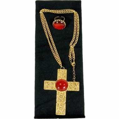 Carnavalskleding sinterklaas verkleed sieraden set ketting ring heren