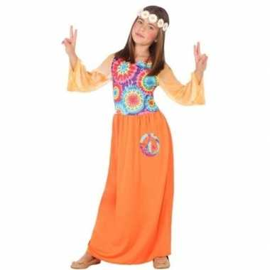 Carnavalskleding sixties/hippie verkleed jurk oranje meisjes arnhem