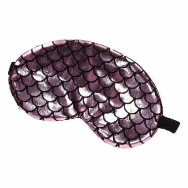 Carnavalskleding slaapmasker/oogmasker zeemeermin roze/zwart volwasse