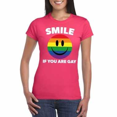 Carnavalskleding smile if you are gay emoticon shirt roze dames arnhe