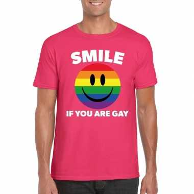 Carnavalskleding smile if you are gay emoticon shirt roze heren arnhe