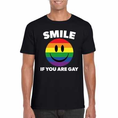 Carnavalskleding smile if you are gay emoticon shirt zwart heren arnh