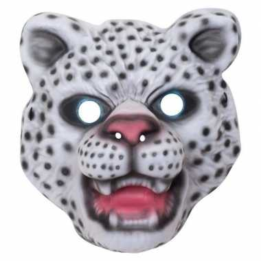Carnavalskleding sneeuwluipaard/sneeuwpanter verkleed dierenmasker ki