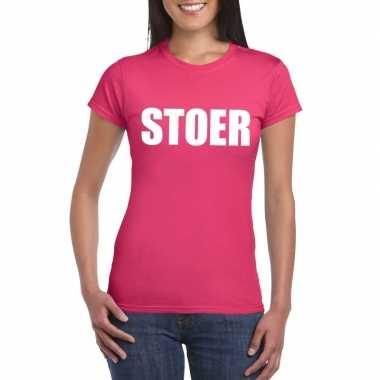 Carnavalskleding stoer tekst t shirt roze dames arnhem