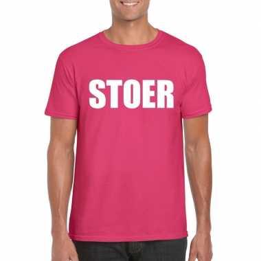 Carnavalskleding stoer tekst t-shirt roze heren arnhem