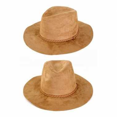 Carnavalskleding suede cowboyhoed beige volwassenen arnhem