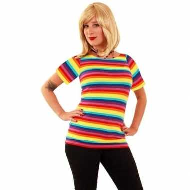 Carnavalskleding t shirt regenboog strepen dames arnhem